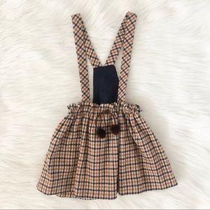 Zara Plaid overall Skirt brand new